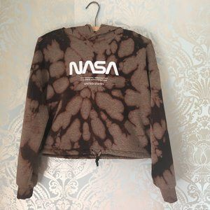 NASA Bleach Dyed Cropped Hoodie Size XS